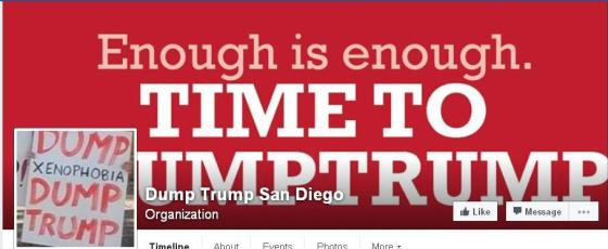 Dump Trump Facebook banner with slogan Enough is enough. TIME TO DUMPTRUMP