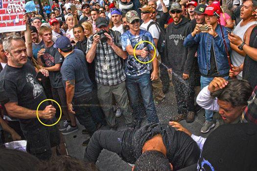 Pro-Trump people pepper spraying demonstrators (photo: Jimi Giannatti)