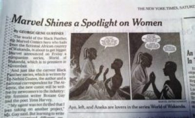 "Image of print version of Gustines NYT review of Marvel comics ""World of Wakanda"""