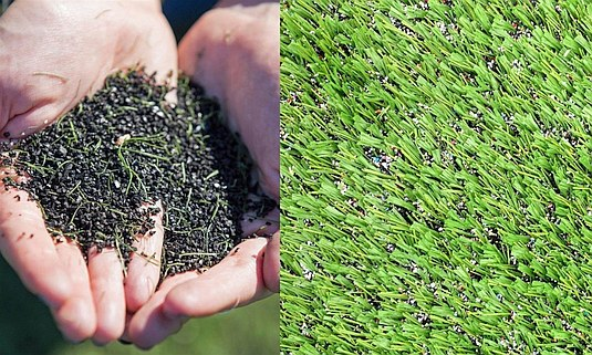 Close up view of crumb rubber turf