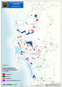 "City of San Diego map showing ""Areas suitable for emergency shelters"""