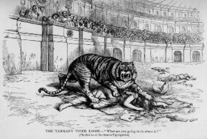 """The Tammany Tiger Loose"" - Thomas Nast illustation"