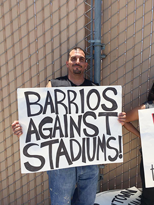 Barrio biz owner Mesheeka Manny opposes the stadium.