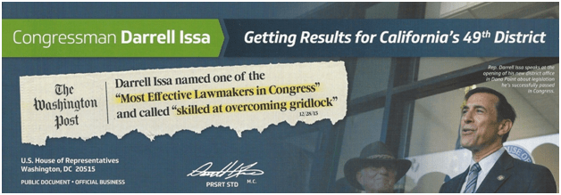 Mailer from Congressman Darrell Issa