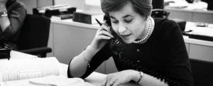 Business Administration student Beverley Warnagieris completing field work, 1962.