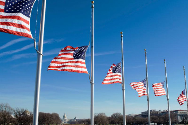 U.S. flags at half mast