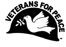Veterans for Peace logo: dove with olive branch superimposed on army helmet