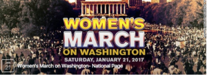 """Image of massive crowd gathered on Washington Mall, D.C used as """"Women's March on Washington"""" Facebook event page banner"""