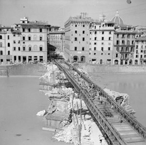 Bailey bridge built over the ruins of the Santa Trinitá bridge