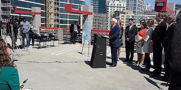 Press conference atop the MTS parking garage at the 12th and Imperial Transit Station