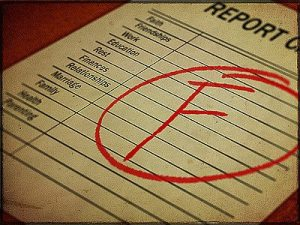 "Report card with letter ""F"""