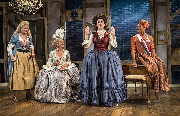 """Cast of """"The Revolutionists"""" on stage"""