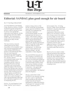 Reprint of editorial from the U-T San Diego, Nov. 29, 2012