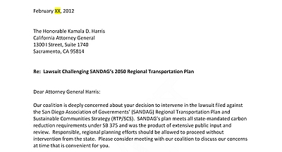 Initial portion of February 2012 draft letter from Fresno Council of Governments to CA Attorney General on lawsuit challenging SANDAG's 2050 Regional Transit Plan