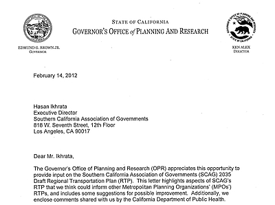 Portion of Feb, 14, 2012, letter from CA Governor's Office of Planning and Research to SANDAG
