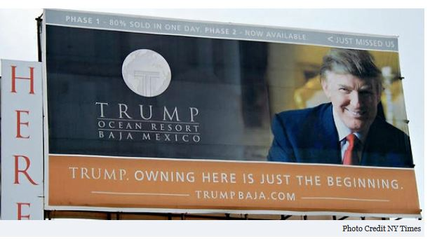 Billboard showing Trump promoting Baja Trump tower