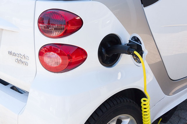 Close-up view of charging plug of electric car