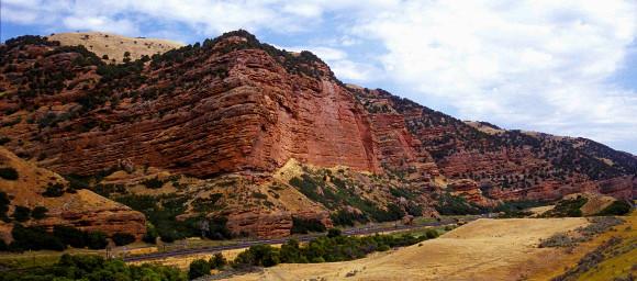 Scenic view of hillside along I-80