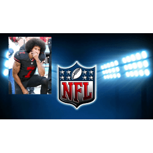 Photo of kneeling Kaepernick on NFL promotional graphic of stadium lights and NFL shield logo