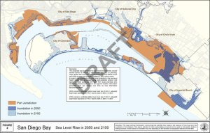 Map showing San Diego Bay sea level rise in 2050 and 2100