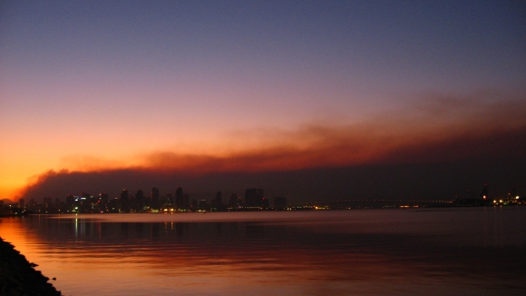 San Diego skyline with smoke from October 2007 fires in background