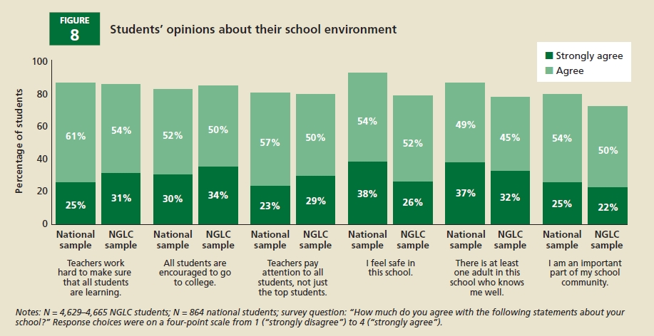 Chart showing Student's opinions about their school environment