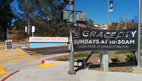 Campus banner for Grace City / University City High School
