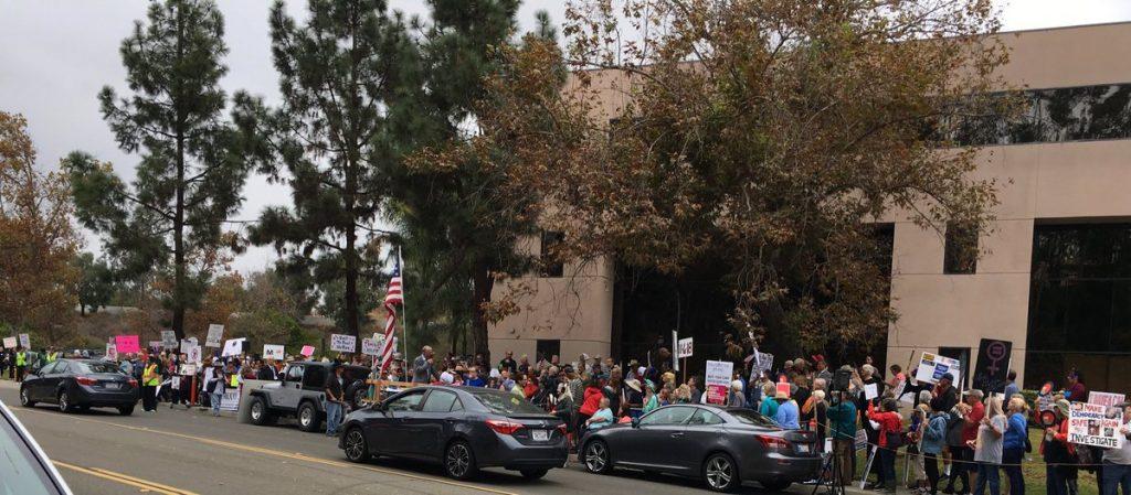 Protestors at Representative Issa's office in Vista