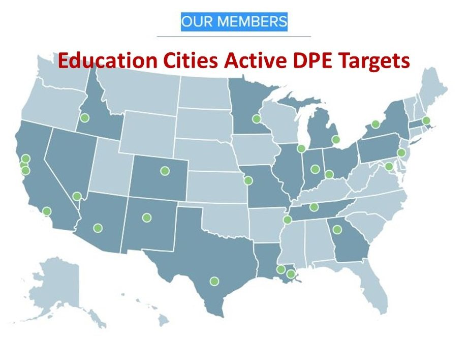 U.S. map showing location of DPE targeted cities