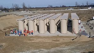 Aerial view of Holtec canisters on concrete pad