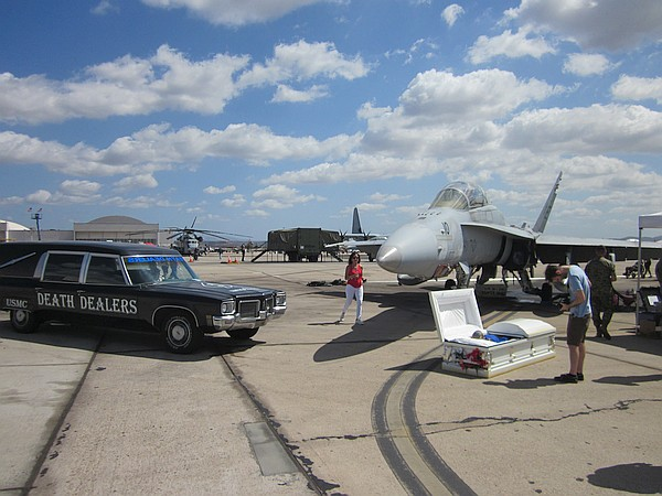 Hearse and mock coffin on runway at 2017 Miramar Air Show