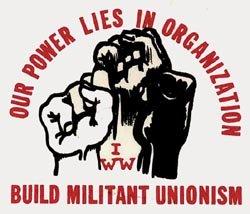 IWW logo with three fists