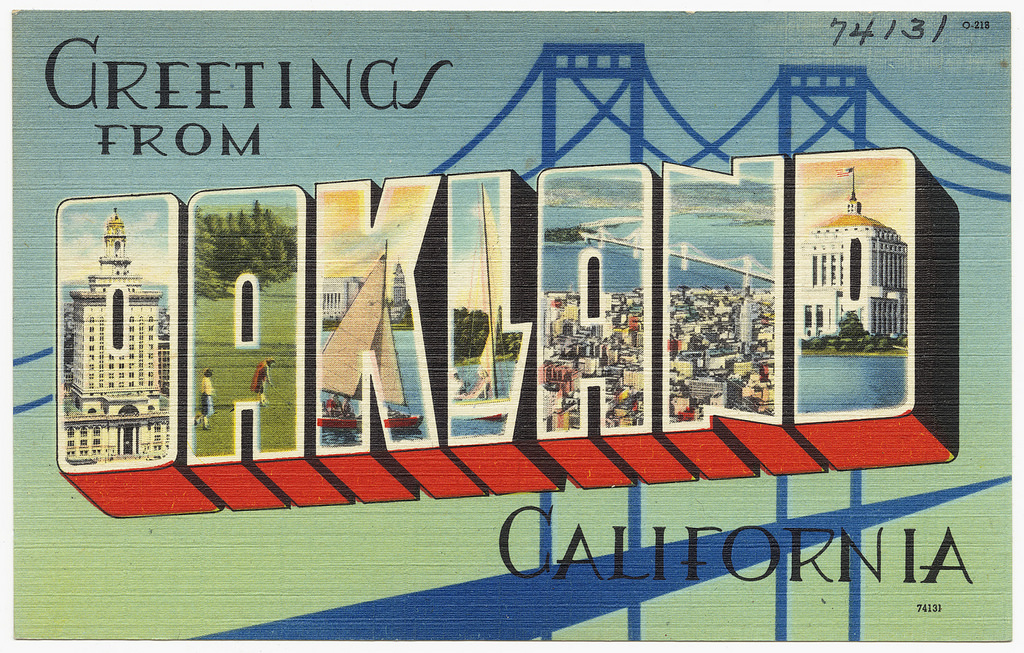 """Greetings from Oakland, California"" postcard"