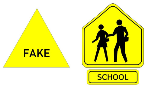 "Road warning sign: ""FAKE"" and road signs for SCHOOL"