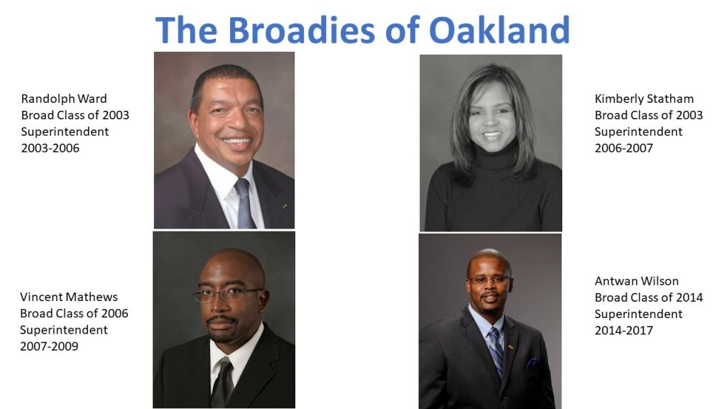 Head shot photos of four Broad Academy alumni