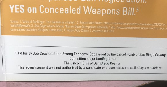 Campaign flyer showing funding sources