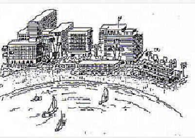Artist's sketch of a developed Ocean Beach