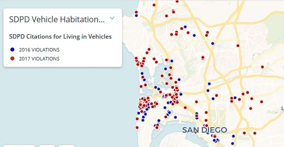 Map showing location of SDPD citations in 2016 and 2017 for living in a vehicle