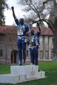 Statue of two black U.S. Olympic players giving Black Power salute