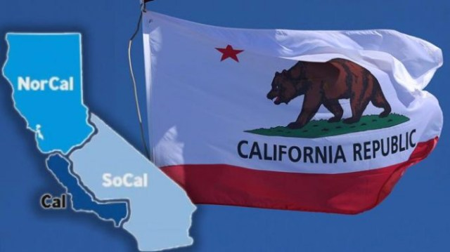 Graphic of state of California split into three states: NorCal, Cal and SoCal; California state flag in background