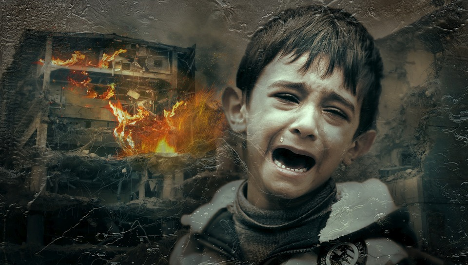 Graphic of crying child with burning building in background
