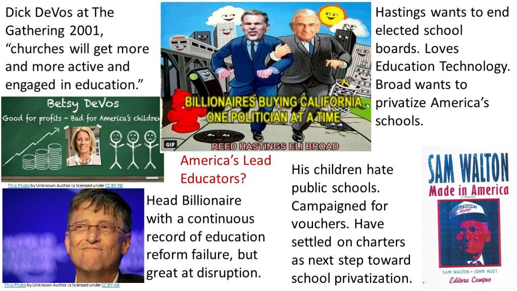 Graphic illustrating billionaires influencing education policy