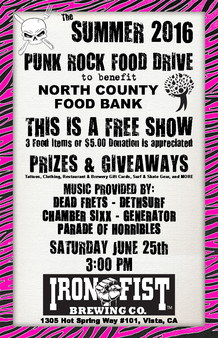 Punk Rock Food Drive Summer 2016