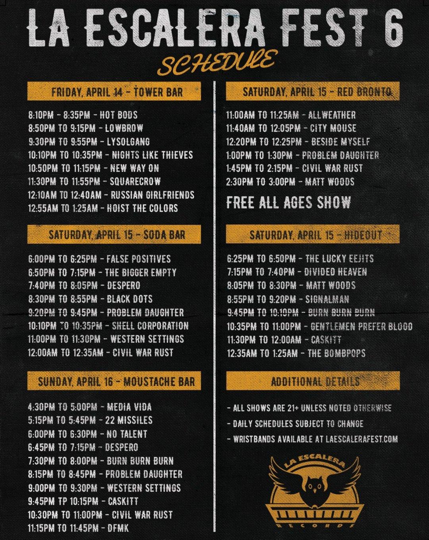 La Escalera Fest 6 Schedule