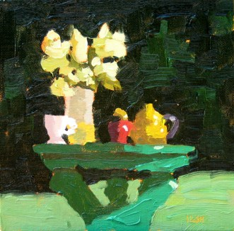 green table yellow tea pot, oil, sandi hester 6x6