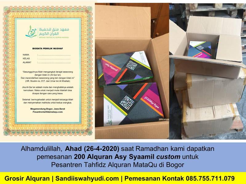 Pesanan 200 Alquran Asy-Syaamil Custom Untuk Pesantren Alquran