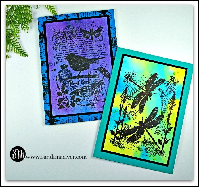 Nuvo Shimmer Powder Backgrounds on greeting cards with collage silhouette stamping