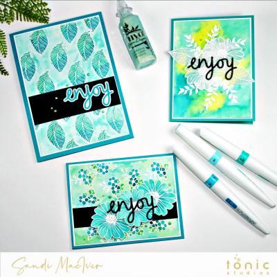 Tonic Studios Dainty Daisies and Aqua Flow Pens