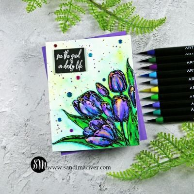 NEW Cardmaking VIDEO – Early Tulips and Arteza Real Brush Pens
