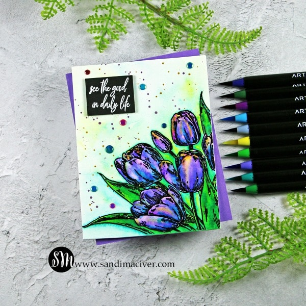 Early Tulips and Arteza Real Brush Pens